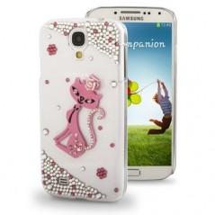 Carcasa 3D Pink Cat Diamond - Samsung S4