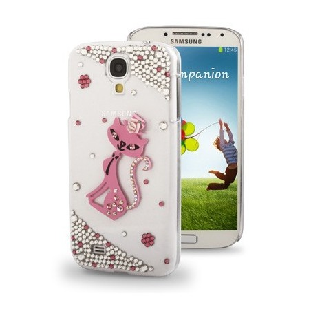 Carcasa 3D Pink Cat Diamond - Samsung S4