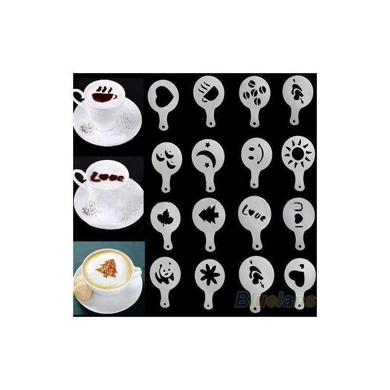 16Pcs Plantillas Baristas para Cappuccino Coffee
