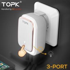 TOPK 5 V 3.4A (Max) 3-Puertos - Lámpara LED 2-EN-1 - para iPhone o Samsung