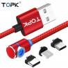 Topk rline-L 90 grados tipo L cable magnético de nylon trenzado LED - USB tipo C
