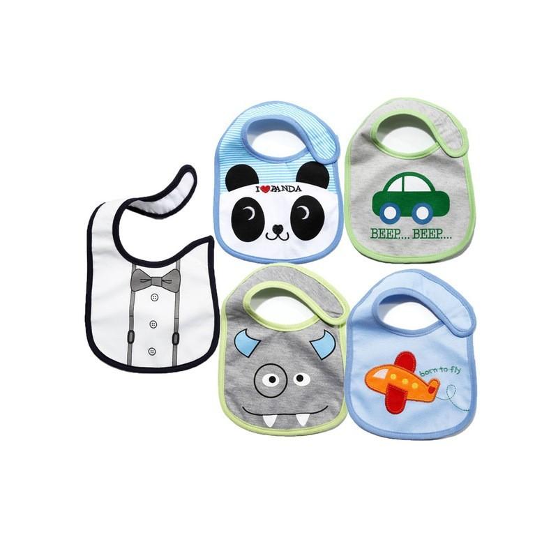 Baberos - 5 unids - Lindos diseños de Bebé - 24 Estilos de Algodón