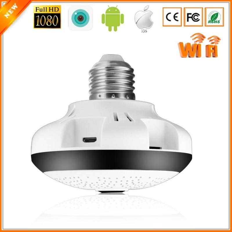 BESDER 1.3MP 960P - Cámara de seguridad panorámica de 360 grados - IP WiFi Fisheye 1.44mm 1080P - CCTV - Conector de bombilla