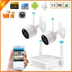 BESDER - 2 Cámara - Cámaras de Seguridad WiFi Full HD 1080P - Kit CCTV con slot de SD - Audio de doble vía
