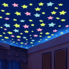 % 100 pcs/lot 3D - Luminous stars - Wall Stickers