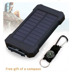 Solar Power Bank Waterproof 20000mAh - 2 USB - Linterna LED