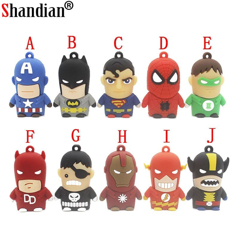 Avengers - USB Flash Drive - super heroes - Batman - Linterna verde - Spiderman - Superman - Capitán América - Flash - Ironman