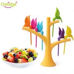 Delidge - 6 unids + 1 soporte Aves árbol - Tenedores plásticos