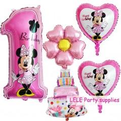 5 unids Mickey Minnie - 1 año de cumpleaños - decoración de globos