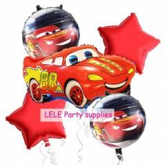 5 unids/lote - Globos de coche - Globos de estrella - Globos redondos de cars