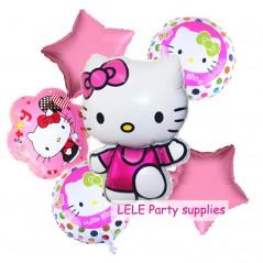 6 unids - Hello Kitty - Feliz cumpleaños - Decoración