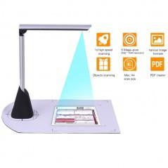 Escáner de documentos A4 de alta velocidad - Cámara 5 megapíxeles HD - función OCR luz led