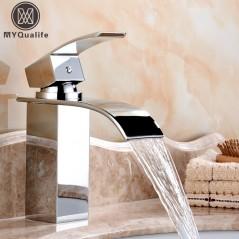 Grifería de baño tipo cascada - Mezclador de grifo de agua fría y caliente