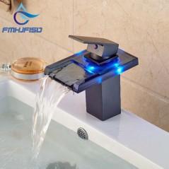 Grifería de baño - Mezclador de grifo de agua fría y caliente - LED