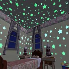 Estrellas fluorescente - 100 unids de 3 cm