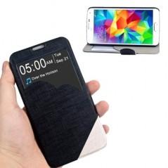 Estuche de Cuero liso & TPU - Samsung S5