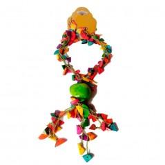 Collar Y Aretes Multicolores Con Predominio De Gota De Tagua