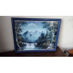Cuadro Original Naturaleza Bosque, Cascada Y Luna pintado a mano