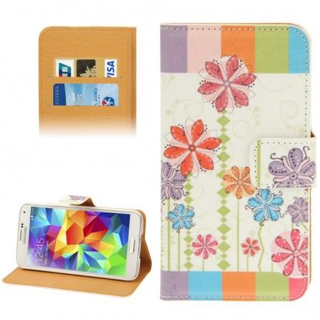Estuche de cuero - Flower Pattern - Samsung S5