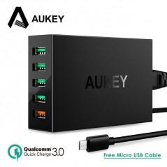 AUKEY - cargador rápida de USB de 5 Puerto 54W