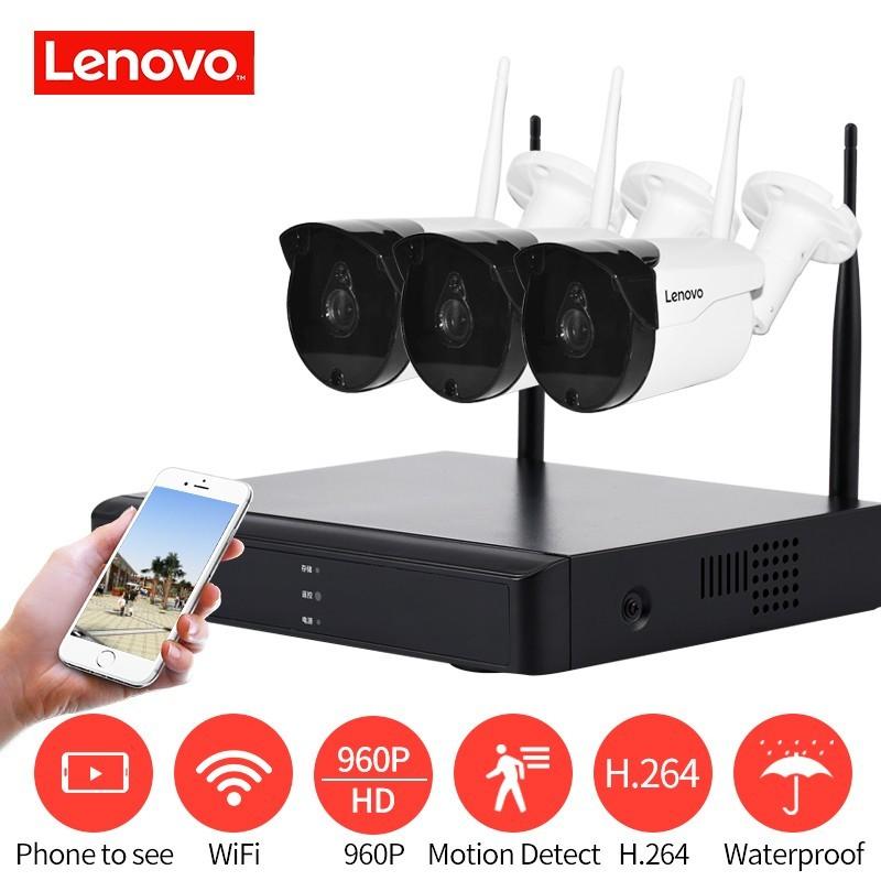 Sistema de Vigilancia de monitoreo inalámbrico Lenovo 960 p HD MP - HDMI AHD CCTV DVR 3CH Cámara WIFi